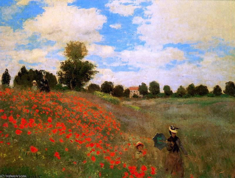 Rose field near Argenteuil Sun by Claude Monet (1840-1926, France)