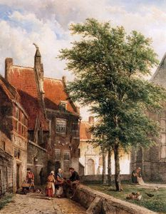 Cornelius Springer - Cornelis View behind the Grote Kerk in Naarden Sun