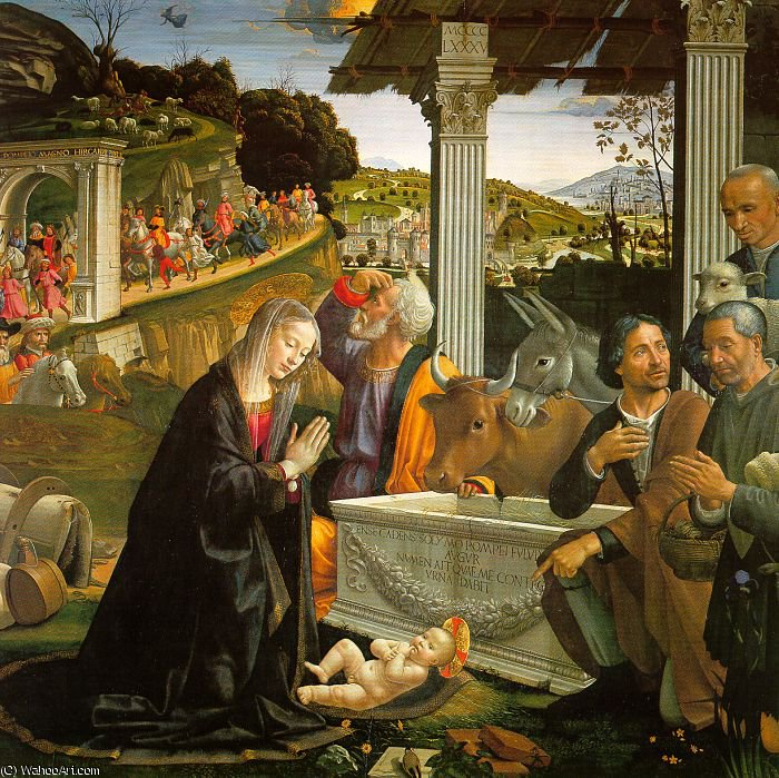 adoration of the shepherds by Domenico Ghirlandaio (1449-1494, Italy) | Painting Copy | WahooArt.com