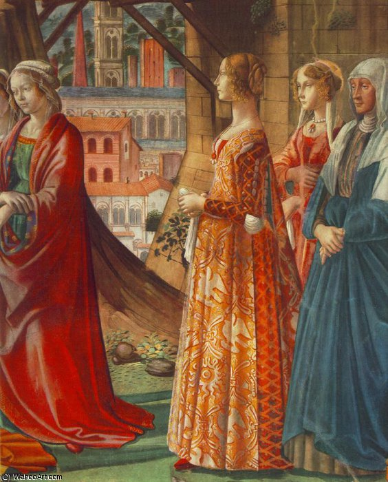 giovanna tornabuoni and her accompaniment by Domenico Ghirlandaio (1449-1494, Italy) | Museum Quality Reproductions | WahooArt.com