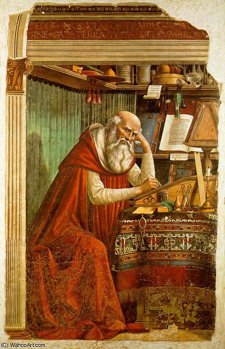 saint jerome in his study by Domenico Ghirlandaio (1449-1494, Italy)