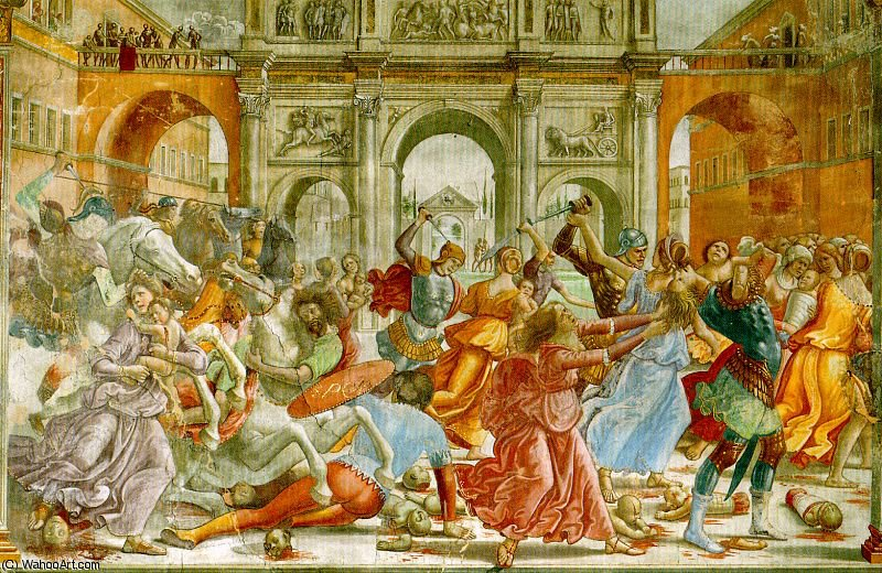 slaughter of the innocents by Domenico Ghirlandaio (1449-1494, Italy) | Art Reproduction | WahooArt.com