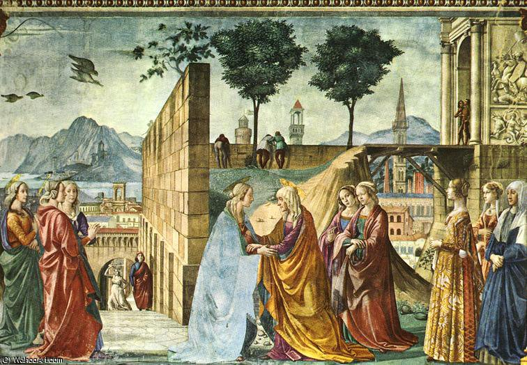 visitation stories of the baptist by Domenico Ghirlandaio (1449-1494, Italy) | Art Reproduction | WahooArt.com