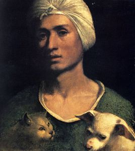 Dosso Dossi (Giovanni Di Niccolò De Luteri) - portrait of a young man with a dog and a cat
