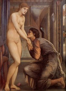 Edward Coley Burne-Jones - Burne Jones Pygmalion and the Image IV The Soul Attains (detail)