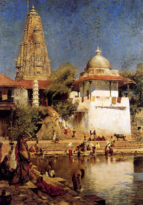 Edwin Lord Weeks - the temple and tank of walkeshwar at bombay