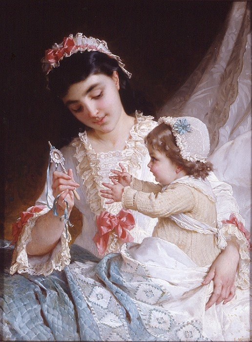 distracting the baby by Emile Munier (1840-1895, France) | Painting Copy | WahooArt.com