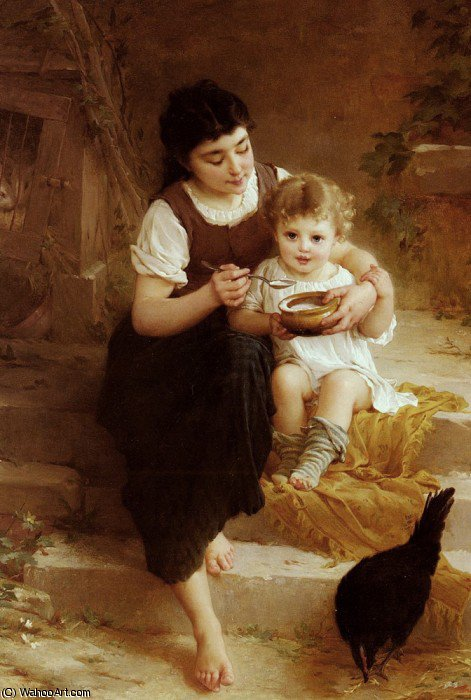 la grande soeur by Emile Munier (1840-1895, France) | Famous Paintings Reproductions | WahooArt.com