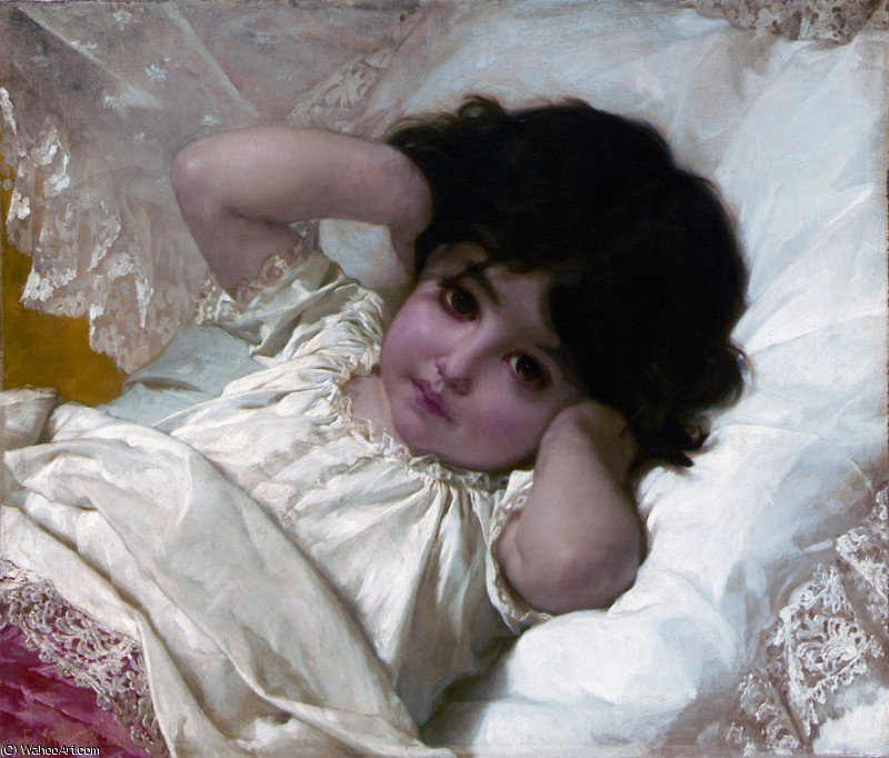 portrait de marie louise, 1880 by Emile Munier (1840-1895, France) | Museum Quality Reproductions | WahooArt.com