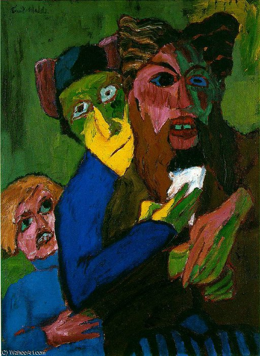 excited people - -, 1913 by Emile Nolde (1867-1956, Germany) | Oil Painting | WahooArt.com