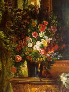 Eugène Delacroix - A Vase of Flowers on a Console