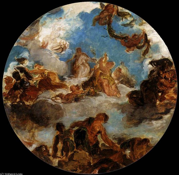 Eugene Sketch for Peace Descends to Earth by Eugène Delacroix (1798-1863, France) | Famous Paintings Reproductions | WahooArt.com