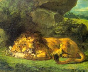 Eugène Delacroix - Lion with a Rabbit