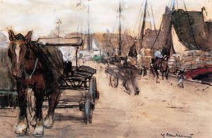 Pieter Florentius Nicolaas Jacobus Arntzenius - floris at the harbour sun