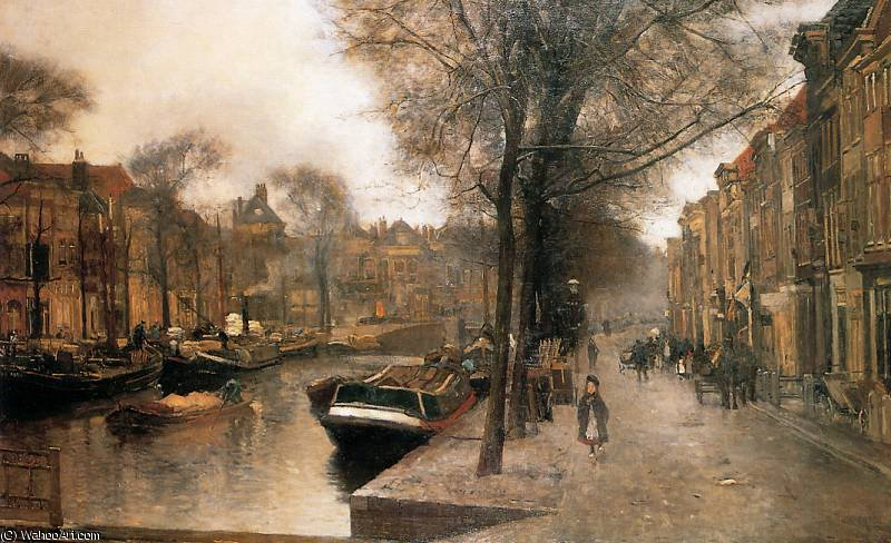 Order Paintings Reproductions | floris bierkade in den haag sun by Pieter Florentius Nicolaas Jacobus Arntzenius (1864-1925, Indonesia) | WahooArt.com