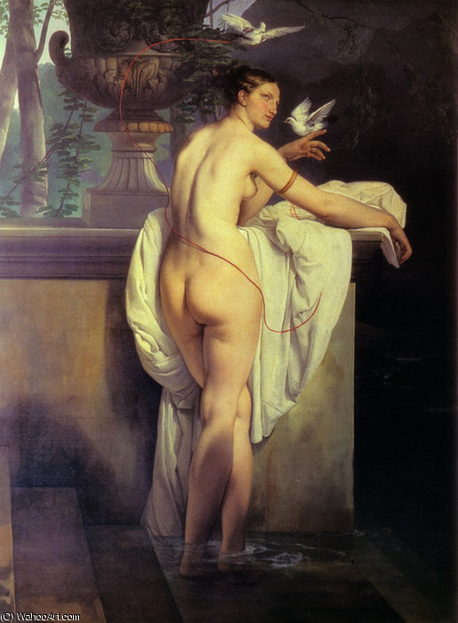 venus playing with two doves, 1830 by Francesco Hayez (1791-1882, Italy) | Museum Quality Reproductions | WahooArt.com