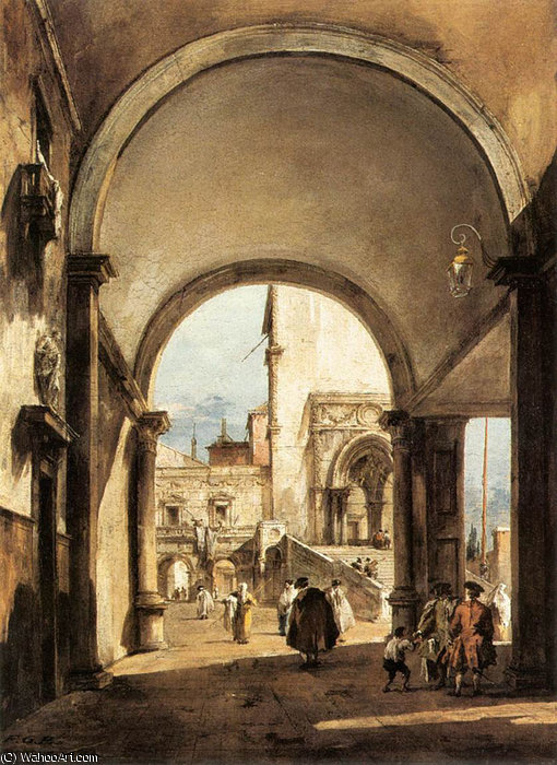 an architectural caprice by Francesco Lazzaro Guardi (1712-1793, Italy)