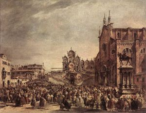 Francesco Lazzaro Guardi - Pope Pius VI Blessing the People on Campo Santi Giovanni e Paolo