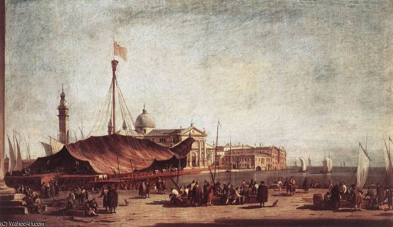 The Piazzetta Looking toward San Giorgio Maggiore by Francesco Lazzaro Guardi (1712-1793, Italy)