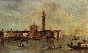 Francesco Lazzaro Guardi - view of the island of san giorgio in alga venice