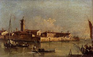 Francesco Lazzaro Guardi - view of the island of san michele near murano venice