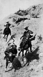 Frederic Remington - Heading a Steer in the Foothills