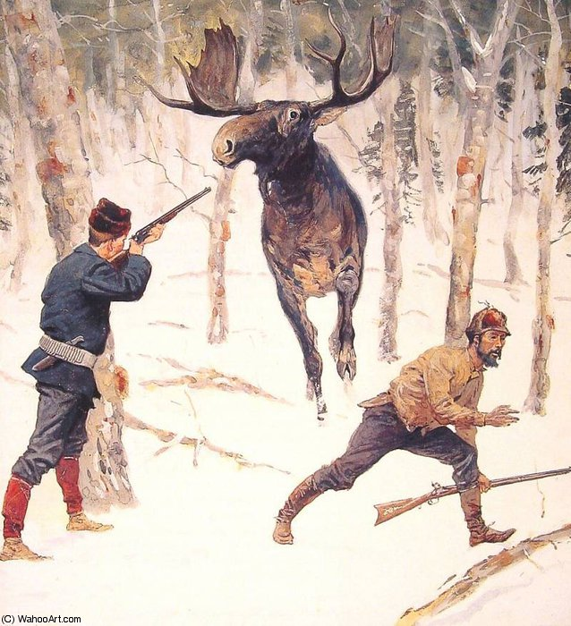 the moose hunt by Frederic Remington (1861-1909, United States)