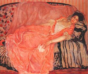 Frederick Carl Frieseke - portrait of madame gely no 1 (on the couch)