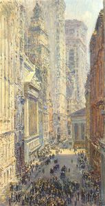 Frederick Childe Hassam - lower manhattan (broad and wall streets)