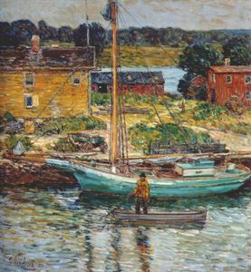 Frederick Childe Hassam - oyster sloop, cos cob