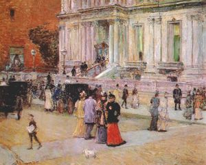 Frederick Childe Hassam - the manhattan club (the stewart mansion) -