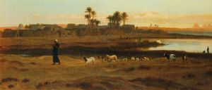 Frederick Goodall - Leading the Flock Early Morning Cairo