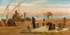 Frederick Goodall - Unloading Cotton on the Nile