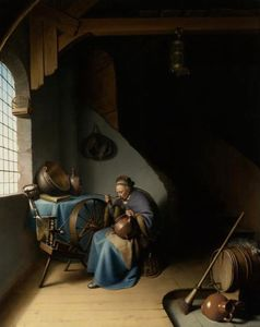 Gerrit (Gérard) Dou - An Elderly Woman Seated by a Window at her Spinning Wheel Eating Porridge