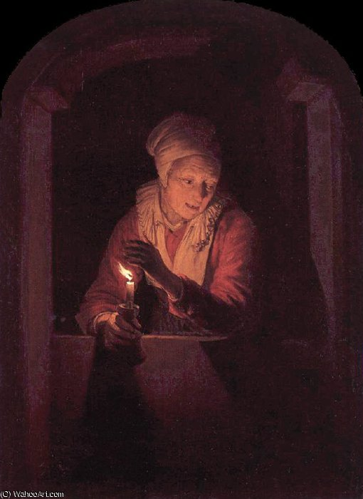 candle by Gerrit (Gérard) Dou (1613-1675, Netherlands) | Oil Painting | WahooArt.com