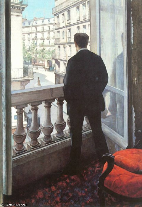A Young Man at His Window by Gustave Caillebotte (1848-1894, France)