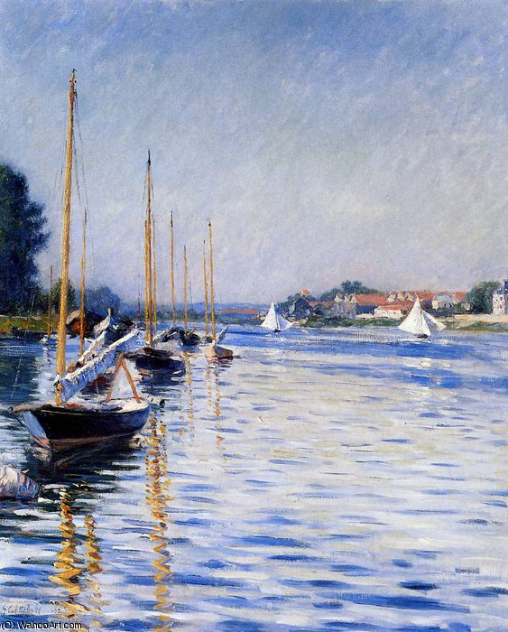 Boats on the Seine Sun by Gustave Caillebotte (1848-1894, France) | WahooArt.com