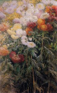 Gustave Caillebotte - Clump of Chrysanthemums Garden at Petit Gennevilliers