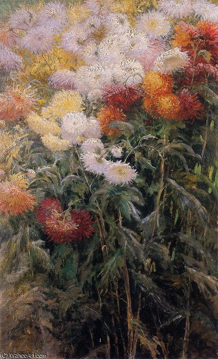 Clump of Chrysanthemums Garden at Petit Gennevilliers by Gustave Caillebotte (1848-1894, France)