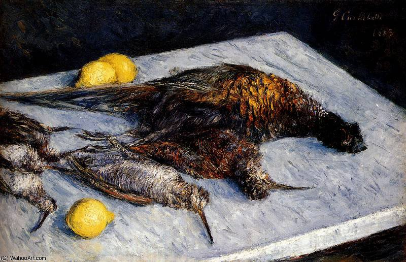 game birds and lemons by Gustave Caillebotte (1848-1894, France)