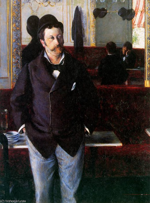 In the cafe Sun by Gustave Caillebotte (1848-1894, France)