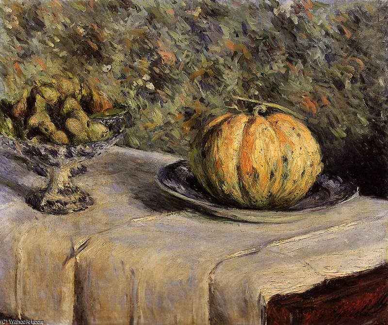Melon and Bowl of Figs Gustave Caillebotte, 1882 by Gustave Caillebotte (1848-1894, France)