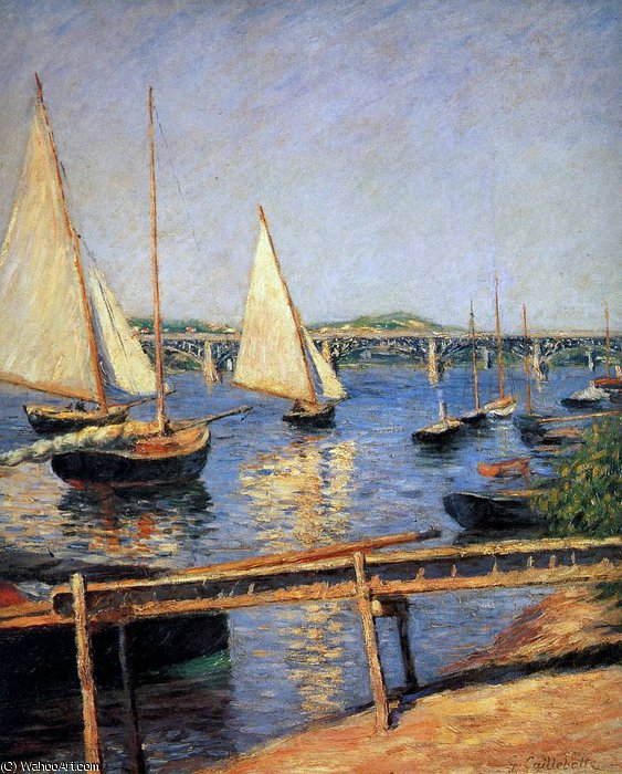 Sailing boats at Argentueil Sun by Gustave Caillebotte (1848-1894, France)