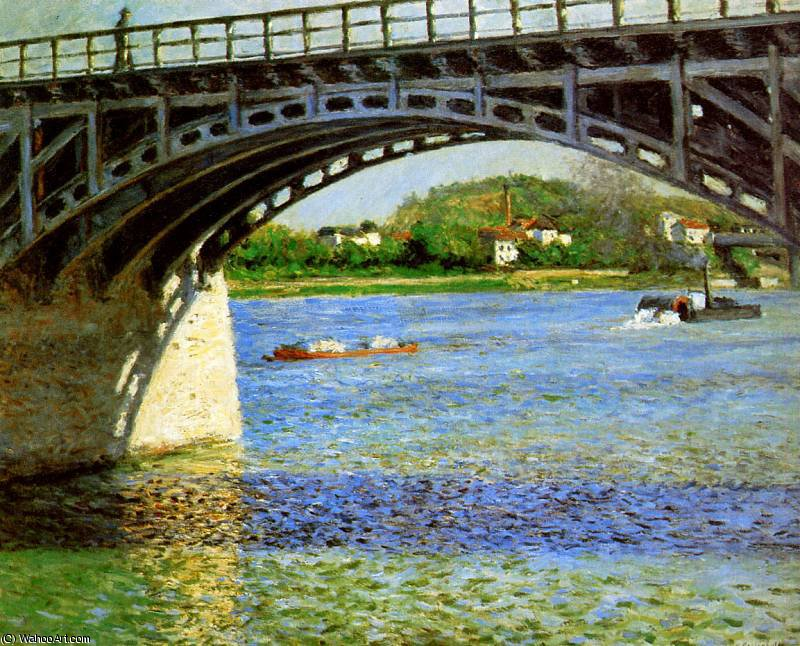 The bridge of Argentueil Sun by Gustave Caillebotte (1848-1894, France) | Famous Paintings Reproductions | WahooArt.com