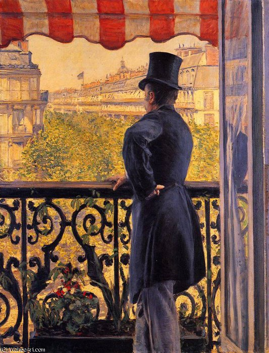 The Man on the Balcony by Gustave Caillebotte (1848-1894, France)