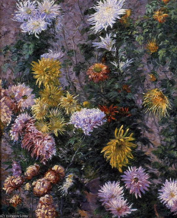 White and Yellow Chrysanthemums Garden at Petit Gennevilliers by Gustave Caillebotte (1848-1894, France) | WahooArt.com