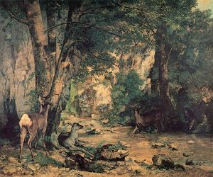Gustave Courbet - A Thicket of Deer at the Stream of Plaisir Fountaine