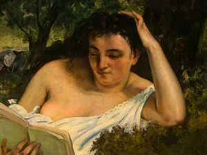 Gustave Courbet - a young woman reading (detalj) -