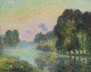 Gustave Loiseau - By the Eure River . Fog Effect