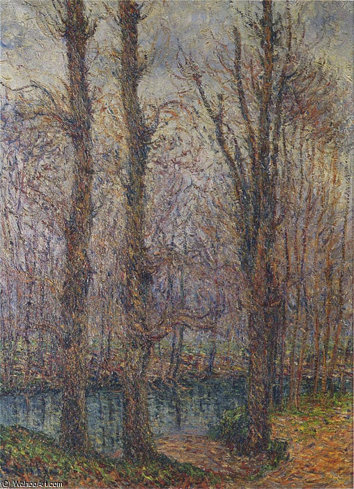 Trees by the River by Gustave Loiseau (1865-1935, France) | Painting Copy | WahooArt.com